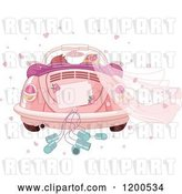 Vector Clip Art of Retro Cartoon Rear View of a Couple Driving Away in a Pink VW Slug Bug Wedding Car by Pushkin