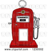 Vector Clip Art of Retro Cartoon Red Gas Pump by Djart