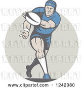 Vector Clip Art of Retro Cartoon Rugby Player Passing a Ball by Patrimonio