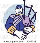 Vector Clip Art of Retro Cartoon Scotsman Bagpiper in a in a Blue Circle by Patrimonio