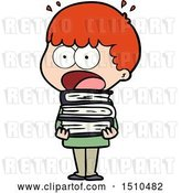 Vector Clip Art of Retro Cartoon Shocked Boy with Stack of Books by Lineartestpilot