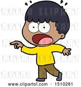Vector Clip Art of Retro Cartoon Shocked Guy Pointing by Lineartestpilot