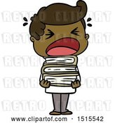 Vector Clip Art of Retro Cartoon Shouting Guy with Stack of Books by Lineartestpilot