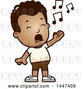 Vector Clip Art of Retro Cartoon Singing Black Boy in Shorts by Cory Thoman