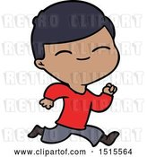 Vector Clip Art of Retro Cartoon Smiling Boy Running by Lineartestpilot
