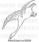 Vector Clip Art of Retro Cartoon Swan Descending in Flight Line Drawing by Picsburg