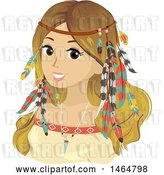 Vector Clip Art of Retro Cartoon Teenage Girl in Bohemian Accessories and Clothes by BNP Design Studio