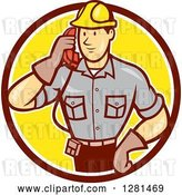 Vector Clip Art of Retro Cartoon Telephone Repair Guy Listening to a Receiver in a Brown White and Yellow Circle by Patrimonio