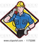 Vector Clip Art of Retro Cartoon Telephone Service Repair Guy Holding a Receiver in a Yellow Diamond by Patrimonio
