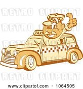 Vector Clip Art of Retro Cartoon Thumbs up Taxi Driver Guy by Andy Nortnik