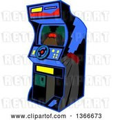 Vector Clip Art of Retro Cartoon Video Driving Arcade Game with a Steering Wheel by Clip Art Mascots