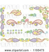 Vector Clip Art of Retro Cartoon Whimsy Paisley and Circle Borders by BNP Design Studio