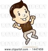 Vector Clip Art of Retro Cartoon White Boy Jumping by Cory Thoman