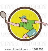 Vector Clip Art of Retro Cartoon White Guy Playing Tennis, Emerging from a Brown White and Yellow Circle by Patrimonio