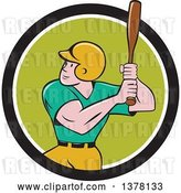 Vector Clip Art of Retro Cartoon White Male Baseball Player Athlete Batting in a Black White and Green Circle by Patrimonio