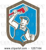 Vector Clip Art of Retro Cartoon White Male Plumber Holding up a Monkey Wrench in a Blue White and Brown Shield by Patrimonio