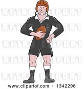 Vector Clip Art of Retro Cartoon White Male Rugby Player Holding the Ball by Patrimonio