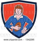 Vector Clip Art of Retro Cartoon White Male Rugby Player Holding the Ball in a Blue White and Red Shield by Patrimonio