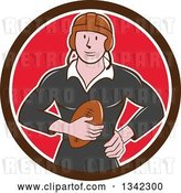 Vector Clip Art of Retro Cartoon White Male Rugby Player Holding the Ball in a Brown White and Red Circle by Patrimonio