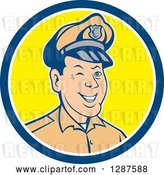 Vector Clip Art of Retro Cartoon Winking White Male Police Officer in a Blue White and Yellow Circle by Patrimonio