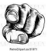 Vector Clip Art of Retro Cartoon Woodcut Hand Pointing Outwards by AtStockIllustration