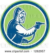Vector Clip Art of Retro Cartoon Woodcut Pest Control Exterminator Spraying in a Green Blue and White Circle by Patrimonio