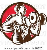 Vector Clip Art of Retro Cartoon Woodcut Strong Male Bodybuilder Working out with a Dummbell and Kettlebell, Emerging from a Brown and Red Circle by Patrimonio