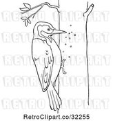 Vector Clip Art of Retro Cartoon Woodpecker on a Tree Line Drawing by Picsburg