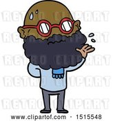 Vector Clip Art of Retro Cartoon Worried Guy with Beard and Spectacles by Lineartestpilot