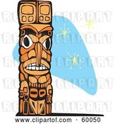 Vector Clip Art of Retro Carved Wooden Totem Pole on a Blue Star Background by Xunantunich