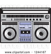 Vector Clip Art of Retro Cassette Tape in a Boom Box by Lal Perera