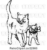 Vector Clip Art of Retro Cat and Kitten by Prawny Vintage