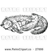 Vector Clip Art of Retro Cat and Kittens by Prawny Vintage