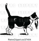 Vector Clip Art of Retro Cat Carrying a Kitten by Prawny Vintage