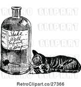 Vector Clip Art of Retro Cat Watching a Mouse in a Bottle by Prawny Vintage