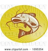 Vector Clip Art of Retro Catfish Jumping over Rays by Patrimonio