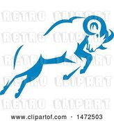 Vector Clip Art of Retro Charging Blue Ram in Style by Patrimonio
