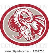 Vector Clip Art of Retro Charging Ram in a Tan and Red Oval by Patrimonio