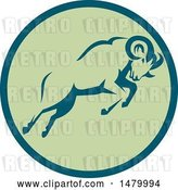 Vector Clip Art of Retro Charging Ram in a Teal and Green Circle by Patrimonio