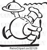 Vector Clip Art of Retro Chef Carrying a Platter by BestVector