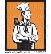Vector Clip Art of Retro Chef over Orange Rays by Patrimonio