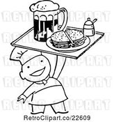 Vector Clip Art of Retro Chef Serving Beer and a Sandwich by BestVector