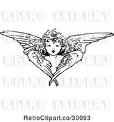 Vector Clip Art of Retro Cherub Angel and Wings by Prawny Vintage