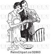 Vector Clip Art of Retro Cherub Chef and Wife Serving Her Husband Fresh Cookies by Picsburg