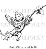 Vector Clip Art of Retro Cherub Playing an Instrument by Prawny Vintage
