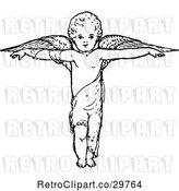 Vector Clip Art of Retro Cherub with Arms out and Wings by Prawny Vintage