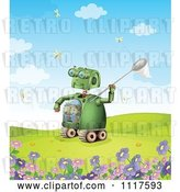 Vector Clip Art of Retro Children Riding Inside a Green Rover Robot Catching Butterflies by Graphics RF