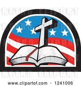 Vector Clip Art of Retro Christian Cross and Open Bible in an American Flag Arch by Patrimonio