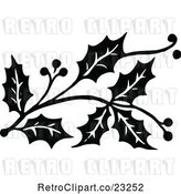 Vector Clip Art of Retro Christmas Holly Sprig Design Element 2 by Prawny Vintage