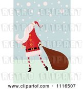 Vector Clip Art of Retro Christmas Santa Claus Pulling a Sack Through Snow by Lineartestpilot